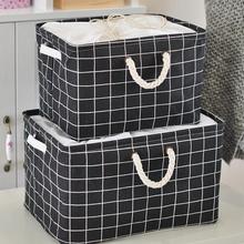 黑白格th约棉麻布艺bi可水洗可折叠收纳篮杂物玩具毛衣收纳箱