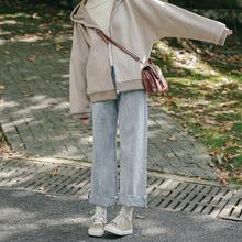 忠犬(小)th梨形自制泫bl休闲直筒裤翻边宽松阔腿牛仔裤学生hot