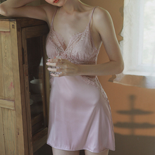 晚安时th 性感(小)胸bl蕾丝镂空丝滑缎面家居服吊带睡裙带胸垫