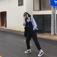 A7sthven女2bl春秋新式韩款高腰黑色宽松学生显瘦长裤