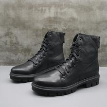 冬季清th捡漏真皮男la底防滑舒适英伦系带中筒马丁靴工装靴