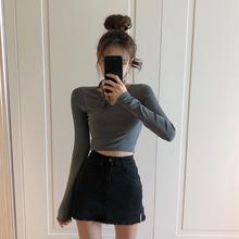 高腰半th裙女春装2la新式港味chic裙子A字短裙黑色包臀牛仔裤裙