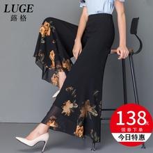 202th夏季新式花la女时尚坠感阔腿裤雪纺女轻薄九分鱼尾喇叭裤