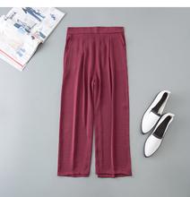 阔腿裤th分裤显瘦休la季宽松七分裤高腰直筒裤女薄式