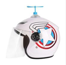 网红爆th可爱个性竹mo盔帽子吸盘摩托车装饰风车电动车(小)风扇