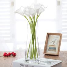 欧式简th束腰玻璃花ce透明插花玻璃餐桌客厅装饰花干花器摆件