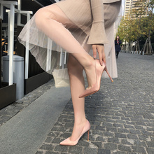 202th春绸缎裸色la女10cm细跟百搭正装职业OL单鞋尖头红色婚鞋
