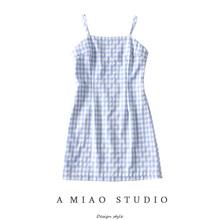 (小)众设th式女装夏装co清新格纹拼色修身吊带裙打底裙短裙女