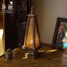 东南亚th灯 泰国风co竹编灯 卧室床头灯仿古创意桌灯灯具灯饰