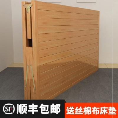 轻便(小)th办公室折叠co便携实木板床硬板床双的。简易
