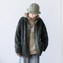 2019冬th日款原宿风da羔绒开衫外套 男女同款ins工装加厚夹克