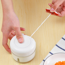 日本手th绞肉机家用da拌机手拉式绞菜碎菜器切辣椒(小)型料理机