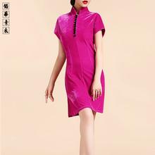 铅华素衣原th2正品腔调da绒连衣裙时尚改良中式立领旗袍裙