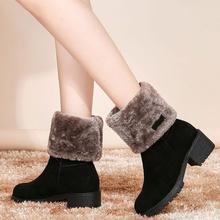 雪地靴th式中筒靴韩lc保暖学生短靴子粗跟加厚底防滑棉靴两穿