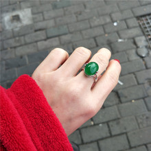 祖母绿th玛瑙玉髓9dr银复古个性网红时尚宝石开口食指戒指环女