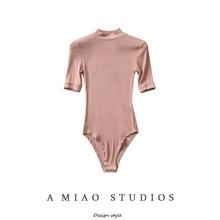202th春夏新式女dr风(小)高领弹力修身连体衣纯色打底短袖T恤女