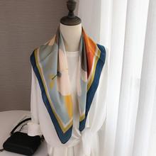 日系文th油画漂亮女li(小)方巾新式装饰围巾多功能领巾春秋夏季