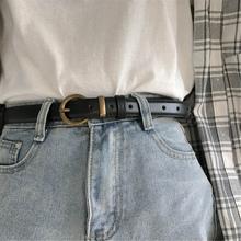 做旧复th皮带女简约li国款学生黑色潮流时尚个性(小)裤腰带男细
