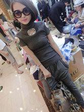 韩款新th春装螺纹方fa弹力高领毛衣 女式短袖针织半袖打底衫