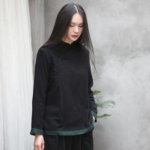 春秋复th盘扣打底衫fa色个性衬衫立领中式长袖舒适黑色上衣