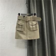 工装短th女网红同式la0夏装新式休闲牛仔半身裙高腰包臀一步裙子
