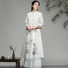中国风th服女202la文艺古风日常装加厚长袖茶服禅舞连衣裙