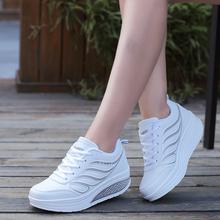 春季女th新式厚底摇la士休闲运动鞋皮面透气跑步鞋白色旅游鞋