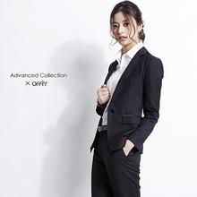 OFFthY-ADVfrED羊毛黑色公务员面试职业修身正装套装西装外套女