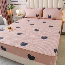 全棉床th单件夹棉加sa思保护套床垫套1.8m纯棉床罩防滑全包