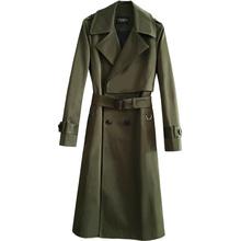 超长风th军绿色大码sa21春秋新式翻领系腰带过膝长大衣宽松外套
