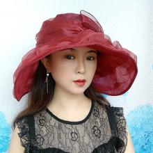 帽子女th遮阳帽英伦sa沙滩帽百搭大檐时装帽出游太阳帽可折叠