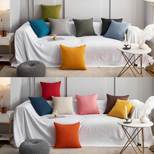 棉麻素th简约客厅沙sa办公室纯色床头靠枕套加厚亚麻布艺