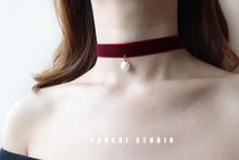 百搭丝th珍珠!手工sahoker项圈锁骨链女简约韩国学生颈链颈带