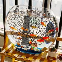 超白扁形椭圆形水草造景金th9缸创意热sa迷你(小)型玻璃斗鱼缸