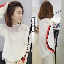 欧洲站th装女202sa欧货韩款宽松蕾丝半高领白色套头羊毛针织衫