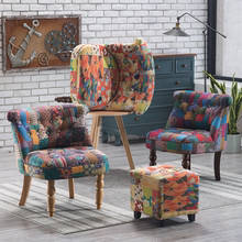 美式复th单的沙发牛ho接布艺沙发北欧懒的椅老虎凳