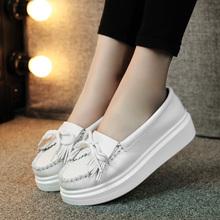 202th流苏(小)白鞋ho厚底女鞋休闲坡跟松糕鞋女单鞋护士鞋简约秋