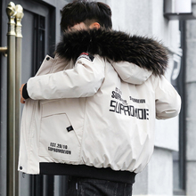 中学生th衣男冬天带ho袄青少年男式韩款短式棉服外套潮流冬衣