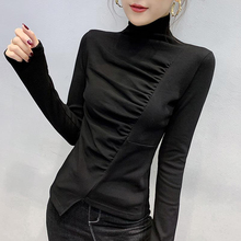 高领打th衫女秋冬气ho设计感不规则T恤纯棉长袖内搭洋气上衣