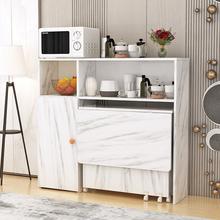 简约现th(小)户型可移ho餐桌边柜组合碗柜微波炉柜简易吃饭桌子