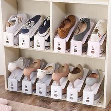 家用简th组装鞋柜鞋ho型鞋子收纳架塑料双层可调节一体式鞋托