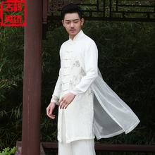 秋季棉th男士汉服唐ki服中国风亚麻男装套装古装古风仙气道袍