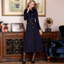 202th秋冬新式女ki子双排扣长式修身正品羊绒大衣外套