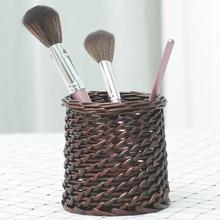 六月生th编圆形创意ki爱笔筒桌面简约复古中国风个性笔筒编织