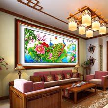 电脑机th花开富贵孔le绣好的客厅大幅牡丹荷花挂画