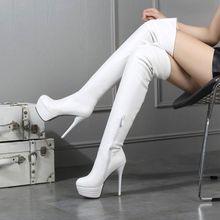 欧美新th防水台超高le靴白色显瘦细跟长筒靴大码43 44 45 46
