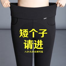 九分裤th女2021le式(小)个子加绒打底裤外穿中年女士妈妈弹力裤