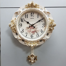 复古简th欧式挂钟现le摆钟表创意田园家用客厅卧室壁时钟美式