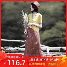 夏季艺th女装新式复le风刺绣修身袍子显瘦棉麻长式连衣裙