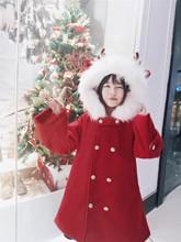 逗酱原th0冬季圣诞li正红色拜年英伦风毛呢大衣斗篷